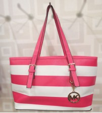 MK Pink and White Ladies Shoulder Bag