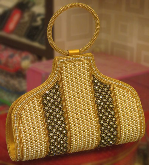 White,Yellow Pearl Festive and Wedding Bag