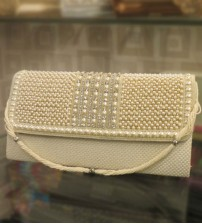 Pearl White Party Clutch
