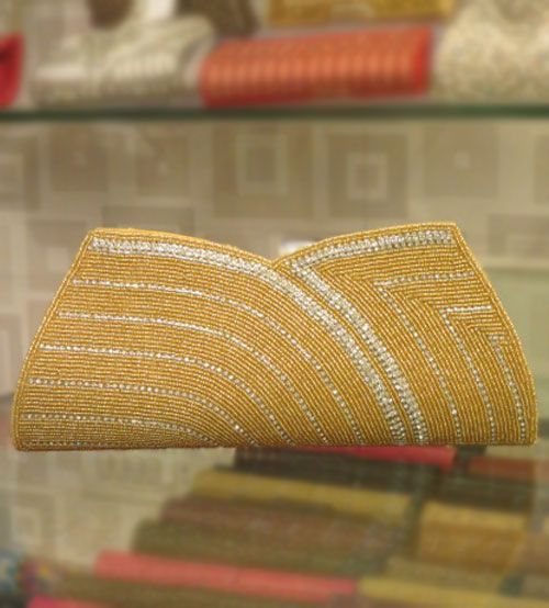 Yellow Gold Festive Wedding Clutch