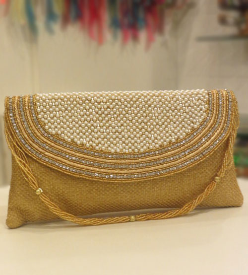 Art Women Party Gold Clutch