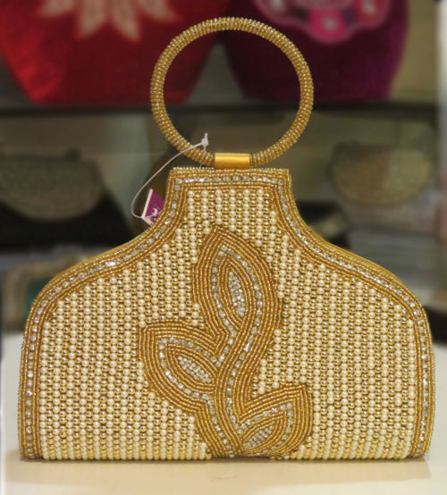 White ,Yellow Pearl Designed Wedding Bag