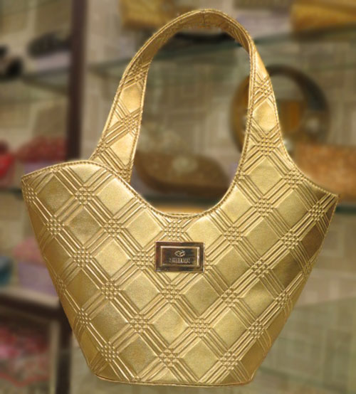 Zilleria Golden Ladies Hand Bag