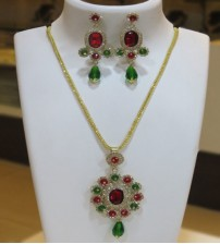 Fancy Red and Green Stoned Necklace