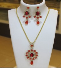 Fancy Red Stoned Necklace