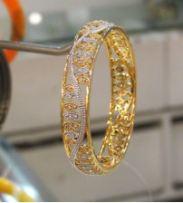 Silver Stoned Yellow Gold Bangle