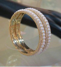 AD Stones with white Beauty Pearl Bangle