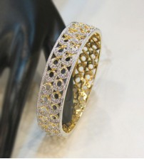 Yellow Gold with white Shiny Pearl Bangle