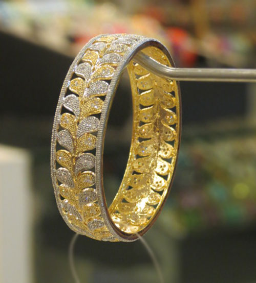 Yellow, White AD Stoned Bangle