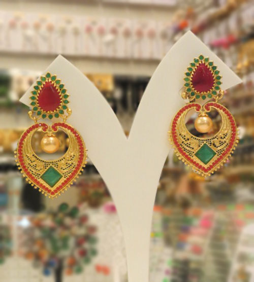 Ethnic Golden Leaf Red, Green Pearl Earrings