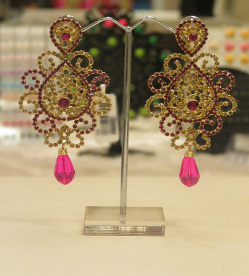 Shiny Golden and Maroon Stoned Earring