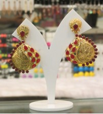 Ethnic Red Drop Stoned Earrings
