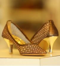 Brown Net Women Heels