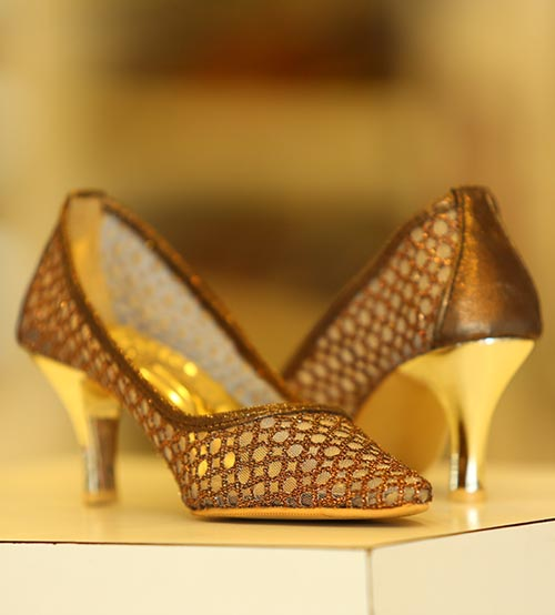 Brown Net Women Heels