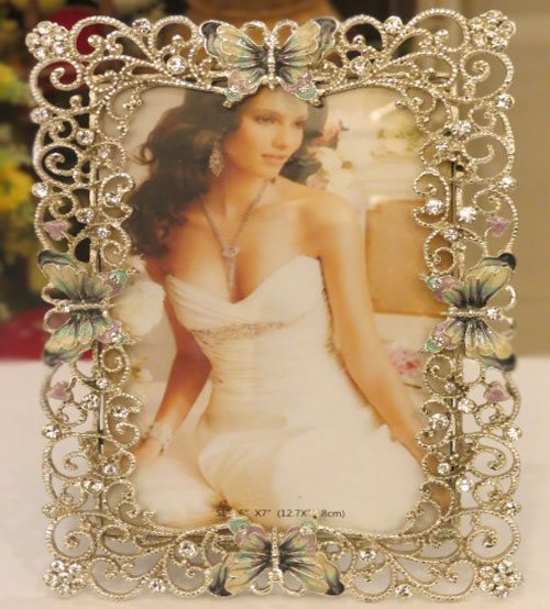 Butterfly Stoned Metalic Photo Frame