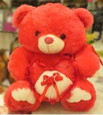 Red Teddy Bear Holding a Heart